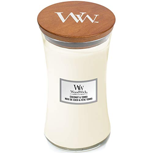 WoodWick Large Hourglass Scented Candle with Crackling Wick | Coconut & Tonka | Up to 130 Hours Burn Time