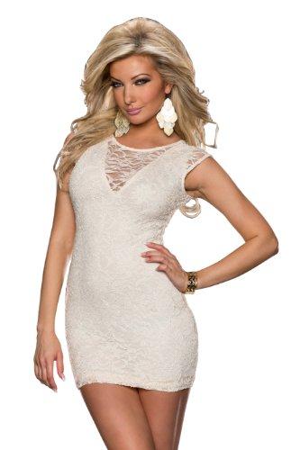 Fashion4Young 5858 Damen Ärmelloses Minikleid Kleid Dress Spitze verfügbar in 3 Farben 3 Größen (M/L 36/38, Creme)