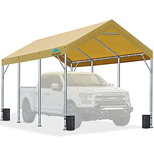 10x20 ft Heavy Duty Carport with Adjustable Height from 9.5ft to 11ft, Car Canopy Garage Shelter Boat Wedding Party Tent, Beige