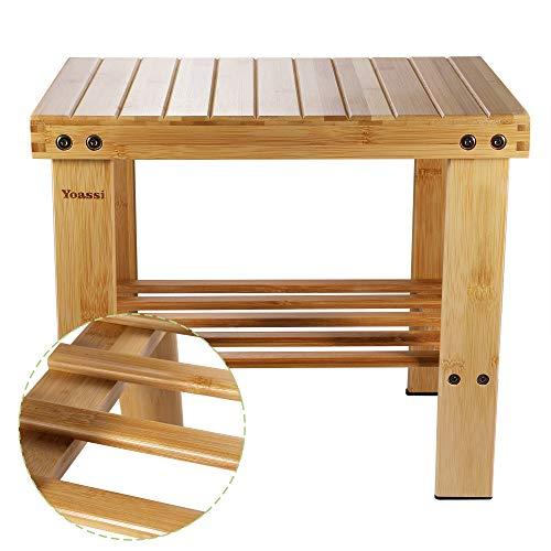 Yoassi - Taburete bajo de bambú natural con estante de almacenamiento para niños y adultos