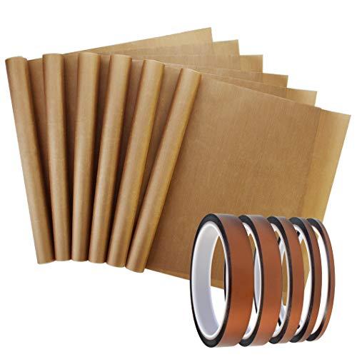 Cinta adhesiva resistente al calor, cinta de transferencia de calor, cinta aislante de alta temperatura y hoja de teflón para prensa de calor de vinilo, placa de circuito de soldadura, 11 unidades