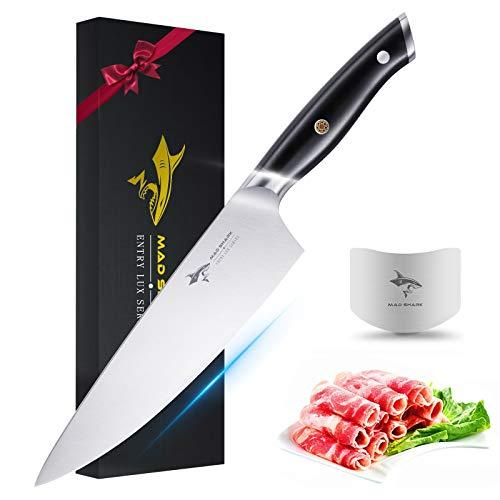 MAD SHARK Couteau de Chef - Couteau de Cuisine Pro Couteau de Chef de 8 Pouces,Professionnel Couteau Allemand à Haute Teneur en Carbone en Acier Inoxydable avec Manche Ergonomique, Ultra Tranchant