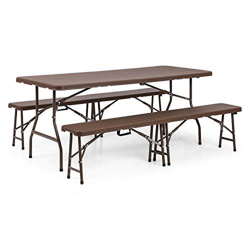 blumfeldt Burgos - Table pour Picnic et Deux bancs, Tubes d'acier pulvérisé, Résistant aux intempéries et UV, Poignées de Transport, Eléments pliants, Surfaces d'aspect rotin