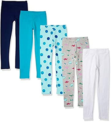 Amazon Essentials Kids Girls Leggings, 5-Pack Dinosaur, Small