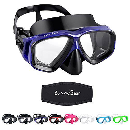 OMGear Swim Goggles with Nose Cover Diving Mask Snorkeling Gear Kids Adult Snorkel Mask for Scuba Free Diving Spearfishing Neoprene Strap Cover Impact Resistance (Blue)