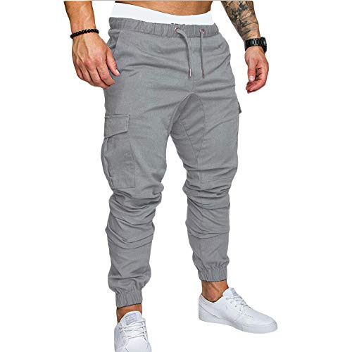 MakingDa Men's Cotton Cargo Pants with Multi Pockets Drawstring Work Harem Trousers Sports Fitness Bottom Sweatpants Lounge Casual Office Outdoor-Grey-XL