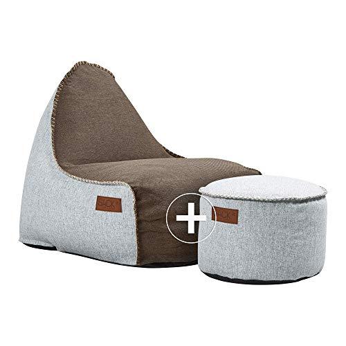 SACKit - RETROit Cobana Brown/White – Braun/Weiss Outdoor/Indoor Sitzsack & Sessel mit Lehne - Perfekt für die Lounge, draußen im Garten oder Balkon - Mit einem weißen Hocker - dänisches Design
