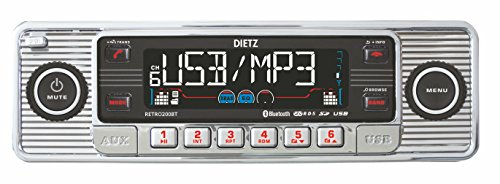 Dietz RETRO_200_BT Autoradio 1-DIN Retro Bluetooth Radio CD, MP3, USB, SD, RDS, AUX met afstandsbediening - Kleur: Chroom