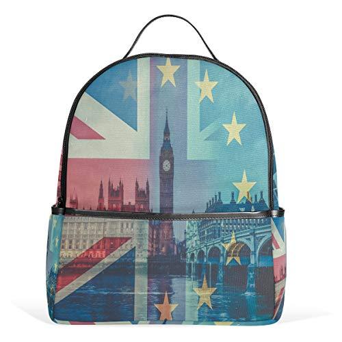 UK Flag and Westminster Palace with Big Ben Casual Student Rucksack, strapazierfähig, Unisex Schultasche, Büchertasche, Daypack, Rucksack, Schultertasche für Schule Reisen