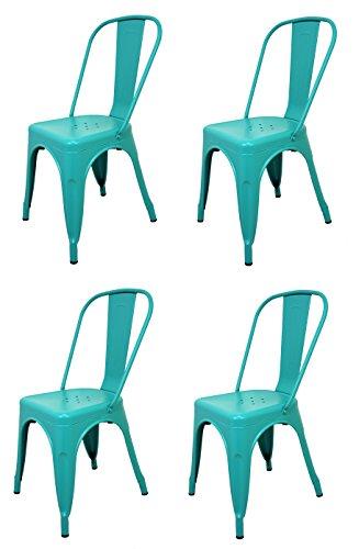 La Silla Española - Pack 4 Sillas estilo Tolix con respaldo. Color Turquesa. Medidas 85x54x45,5