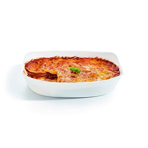 Luminarc - Plat rectangulaire Blanc Smart Cuisine Carine 250°C - Plat à Four en Verre Innovant - Léger et Extra-Résistant - Nettoyage Facile - Fabrication en France - Dimensions 34x25cm