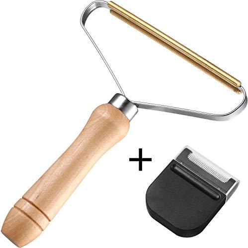 2 Stück Tragbarer Fusselrasierer, Flusen Shaver, Kupferkopf Lint Remover Fusselentferner für Kleidung Tierhaare Decken Staub