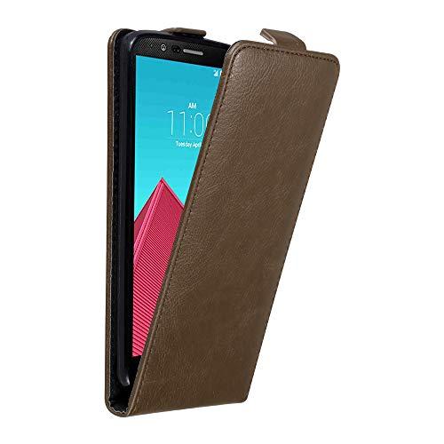 Cadorabo Hülle für LG G4 in Kaffee BRAUN - Handyhülle im Flip Design mit Magnetverschluss - Case Cover Schutzhülle Etui Tasche Book Klapp Style