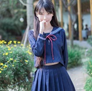 (SUNLIKE) セーラー服 コスプレ ⑥ JK制服 冬服 Mサイズ 長袖黒色