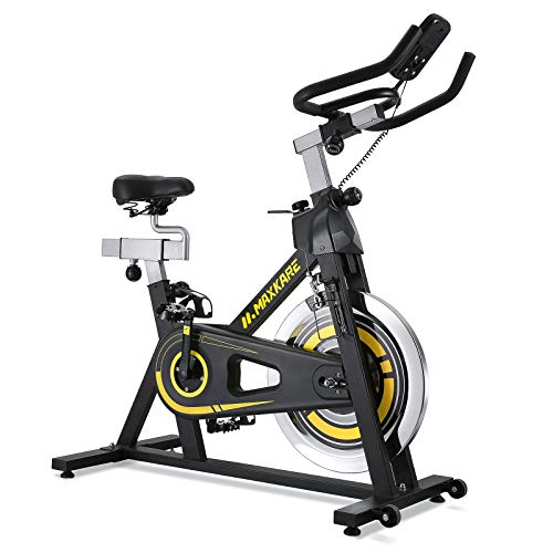 MaxKare Indoor Cycling Bike - Stationary Exercise Bike with LCD Monitor, Comfortable Seat Cushion, Dual Felt Resistance and Emergency Braking Systems, for Home Gym Workout Training