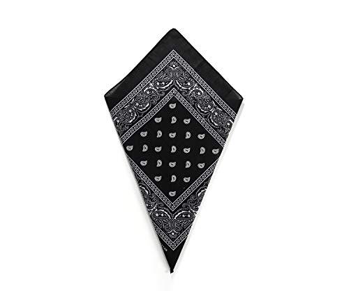 Black Paisley Bandana Head Scarf Headbands Handkerchief Cowboy Cotton Bib Party Face Covering Headwear For Motorcycling Mens Womens Unisex