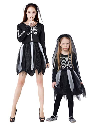 IKALI Costumi Scheletro per Bambini e Bambine, Abiti Fantasia a Maniche Lunghe in Osso per Abiti da Festa