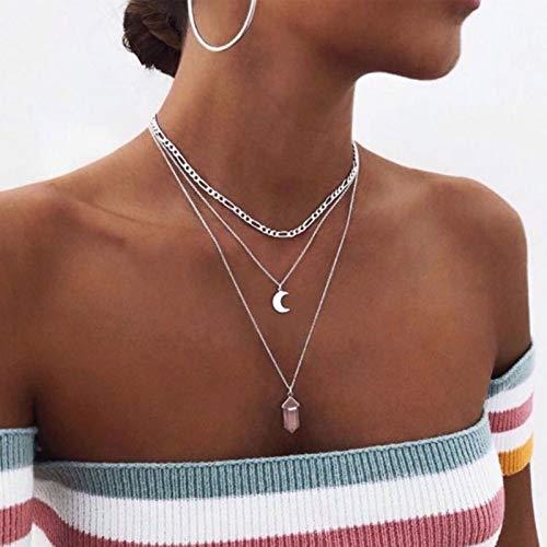 TseenYi Collar con colgante de piedra lunar, gargantilla con capas de plata y luna creciente, collares bohemios para mujeres y niñas