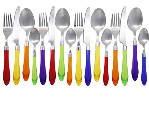 Unique Brilliant Colored Mix & Match Cutlery and Silverware with Translucent Handles set of 16 pieces, Rainbow Flag Colorful Cutlery Multi Colored Assortment