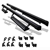 Running Boards Compatible With 2007-2017 Jeep Wrangler 4 Door, Offroad Style Steel Side Step Bar Nerf Bar Black by IKON MOTORSPORTS, 2008 2009 2010 2011 2012 2013 2014 2015 2016