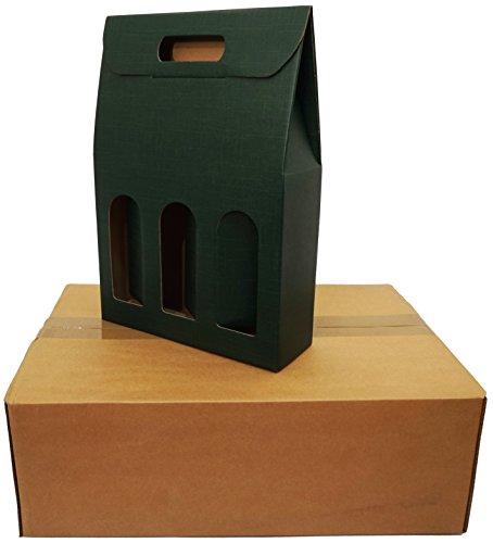 Seta Verde 3 botellas de vino/champán verde cartón cajas de envío (Pack de 5)