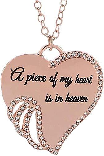 LKLFC Necklace for Women Men Shiny Rhinestone Heart Wing Pendant Necklace Honey Engraved Angel Wing Pendant Necklace Memorial Gift JewelryPendant Necklace Girls Boys Gift