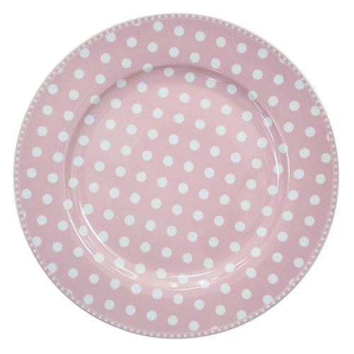 Krasilnikoff HP26161 Essteller/Speiseteller - rosa mit weißen Punkten - Porzellan - Ø 26,5 cm
