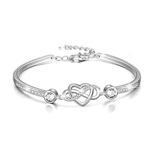 Infinity Armband Sterling Silber Damen Liebes Unendlichkeitszeichen Armreif Armband mit Kristallen, Geburtstag Freundschaft Hochzeitstag Geschenke für Freundin Mutter (Weiß)