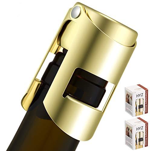 HYZ Gold Champagnerstopfen Edelstahl 2 Stück Flaschenverschluss für Champagner, Cava, Prosecco und Sekt - luftdicht und auslaufsicher - Sekt Stopper Saver