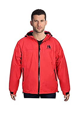 Salt Jacket Waterproof for Men Women Sailing All Outdoor Sports Rain Coat Warm Fleece Hoodie(Red/XL)