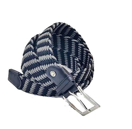 COVERI WORLD - Cinturón trenzado bicolor elástico con cordón ajustable, elástico, talla única, para hombre y mujer Grigio Nero Talla única