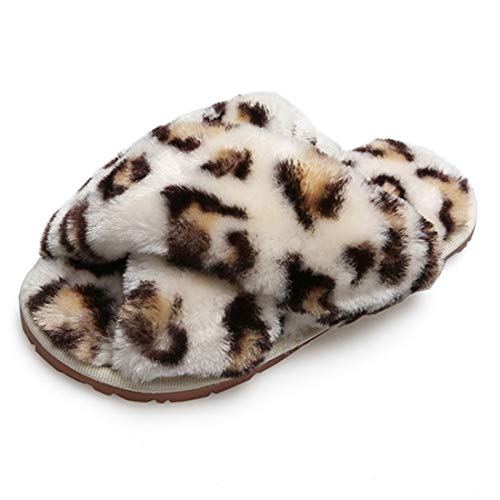 Hitopteu Pantofole Donna Peluche Casa Scarpe Bambini Invernali Slippers Ciabatte Aperta Pantofole Pelose Fluffy Infradito Leopardo Bianco EU 36/37