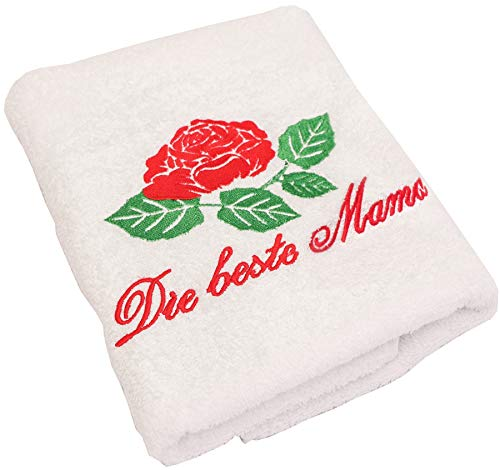 Abc Casa Geschenk zum Geburtstag für Mama oder Muttertag- Handtuch mit gestickter Rose und Inschrift Die Beste Mama - eine praktische Geschenkidee für die Mama