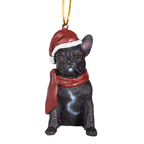 Design Toscano Christmas Xmas French Bulldog Holiday Dog Ornaments, Full Color