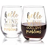 Hello Wine Goodbye Problems Weinglas ohne Stiel (473 ml, 2 Stück)