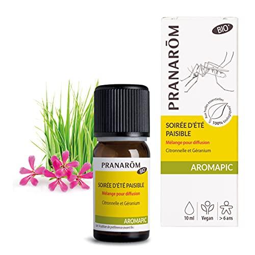 Pranarôm Aromapic Soirée d'Été Paisible Mélange pour Diffusion Bio Eco aux Huiles Essentielles Biologiques, 10 ml