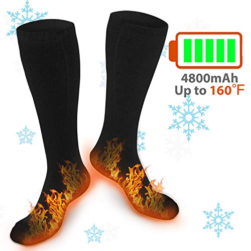 XBUTY Heated Socks for Women Men, Rechargeable Electric Socks Battery Heated Socks, Cold Weather Thermal Socks Sport Outdoor Camping Hiking Ski Warm Winter Socks