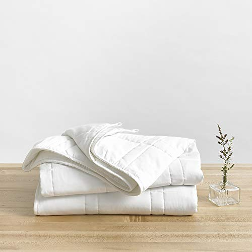 Baloo Weighted Blanket Throw Size - 12 lbs (42x72 inches) - Eco-Luxury Soft Cool Cotton in Pebble White - Lead-Free Glass Beads - Double Quilted Personal Size