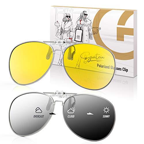 2 Stk Polarisierte Sonnenbrille Aufsatz für Brillenträger zum Autofahren(Nachtfahrbrille Clip + Photochrome Sonnenbrille Clip) mit UV400 Blendschutz Flip Up Nachtsichtbrille für Fahren Radfahren