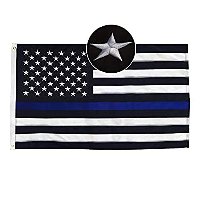 3x5 ft Thin Blue Line USA Flag with Embroidered Stars, Sewn Stripes, Brass Grommets, Vivid Color and UV Fade Resistant, Black White and Blue American Police Flag Honoring Law Enforcement Officers