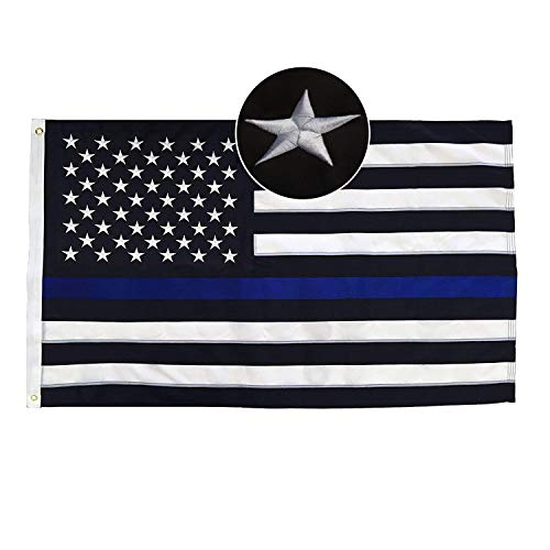 Thin Blue Line American Flag, Durable Deluxe Embroidered Stars and Double Edge Sewing, Black White and Blue Police Flag Honoring Law Enforcement Officers (5' x 8')