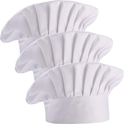3 Pieces Multicolor Chef Hat Adult Adjustable Elastic Baker Kitchen Cooking Chef Cap (White)