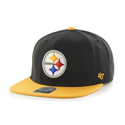47 Brand Pittsburgh Steelers Two-Toned Super Shot Mens Snapback Hat F-SUSTT25WBS-BK Black BK M US