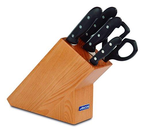 Arcos Maitre - Juego de Cuchillos 5 piezas (4 Cuchillos de Cocina + 1 Tijeras de Cocina) - Acero Inoxidable NITRUM - Mango Polipropileno - Bloque madera marrón