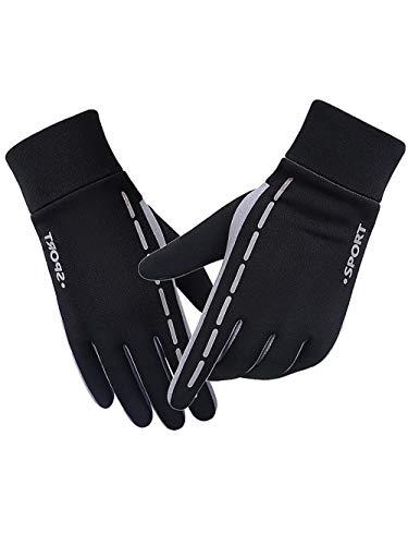Guantes de trabajo de invierno, 2 piezas guantes de invierno cálidos, guantes de correr para conducir, ciclismo, senderismo, nieve, esquí, invierno, esquí, hombre, talla L, color negro A)