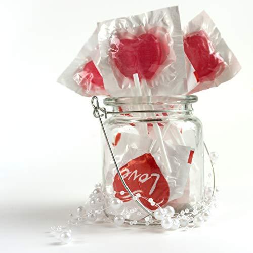 WeddingTree Herzlutscher mit der Aufschrift Love - 40 Candy Sticks mit Herz Design in Großpackung - Mini Herzen als Tisch-Deko zu Hochzeit Taufe Valentinstag Muttertag Kommunion