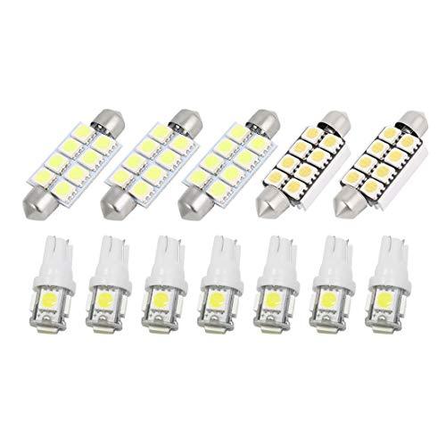 sourcingmap 12 Pcs LED Lampe lumière blanc intérieur Kit 2002-2011 pour Ram 1500 2500 3500