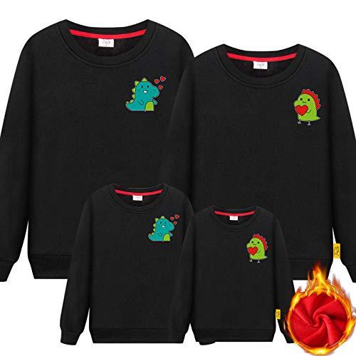 SANDA Ropa Mama E Hija,Ropa para Padres e Hijos Primavera Familia Tres o Cuatro Madre-Hijo Madre e Hija Ropa Familiar suéter Rojo de Manga Larga-Negro_Mamá XXXL