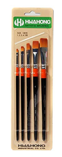 Hwahong Artists Oil Watercolor Acrylic Painting Flat Brushes Set (5 Counts)