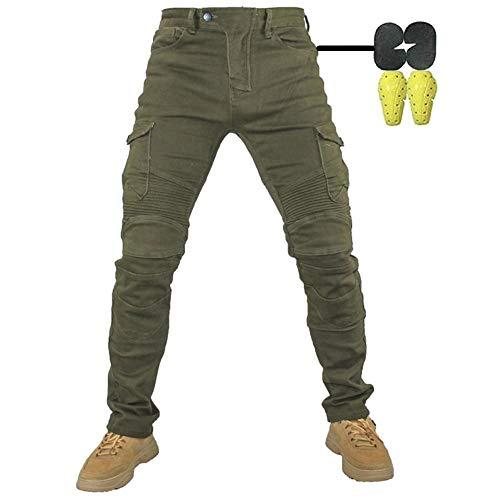 Pantalones de Motociclista Hombres Forro Protector Moto de la Motocicleta Trabajo Pantalones Jeans Cargo Blindada (Armygreen, M- (Waist 33'))